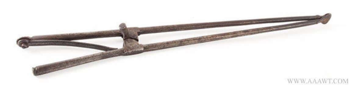 Likely English Wrought Iron Pipe Tongs Marked 1699 (Antique Associates of West Townsend)