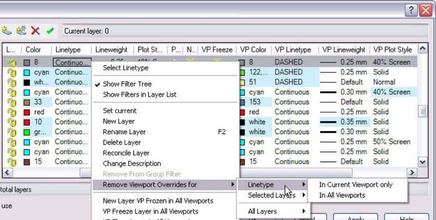 to temporarily ignore the overrides for viewing or plotting. Figure 21. VP Layer Overrides. The viewport