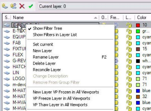 AUTOCAD 2008 PREVIEW GUIDE Figure 20. Right-click on existing layer. You can display objects differently in