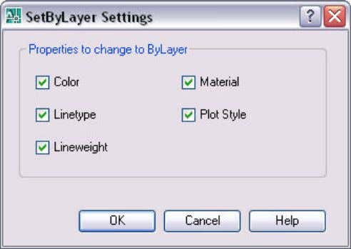 you to control which properties to include in the operation. Figure 22. Set Bylayer Settings dialog