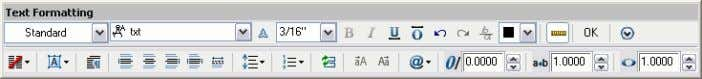 provide more formatting options for your MTEXT objects. Figure 48. Text Formatting toolbar. New column controls