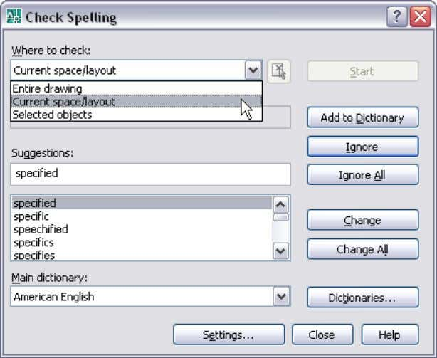 AUTOCAD 2008 PREVIEW GUIDE Figure 51. Check Spelling dialog box. A new Check Spelling Settings dialog