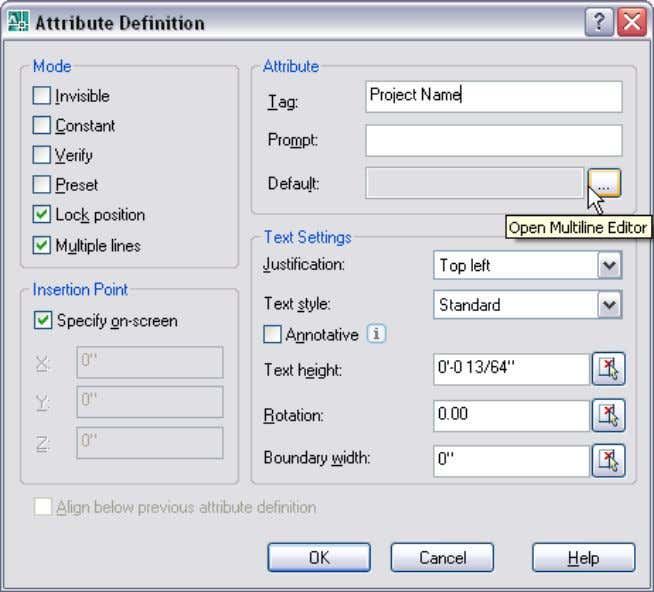 provided with access the Multiline Attribute editor. Figure 53. Multiline Lines option in the Attribute Defi