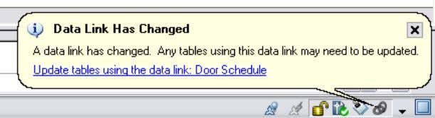 and a link within the bubble enables you to quickly update the AutoCAD table to reflect