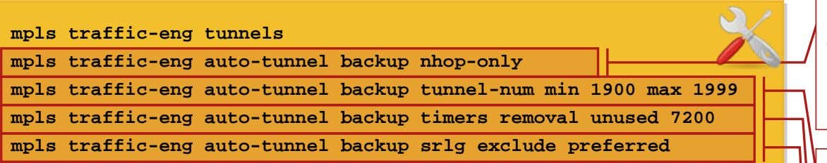 Configuring AutoTunnel Backup Tunnels (Cisco IOS) mpls traffic-eng tunnels mpls traffic-eng auto-tunnel backup