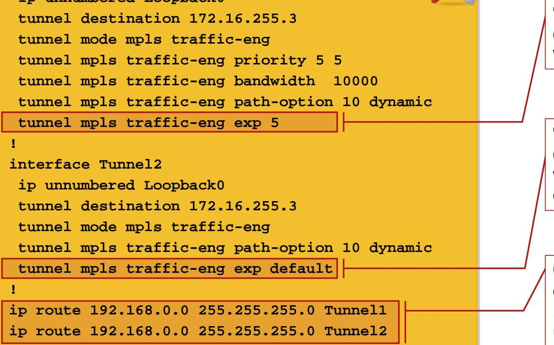 tunnel mpls traffic-eng exp 5 ! interface Tunnel2 ip unnumbered Loopback0 tunnel destination 172.16.255.3 tunnel