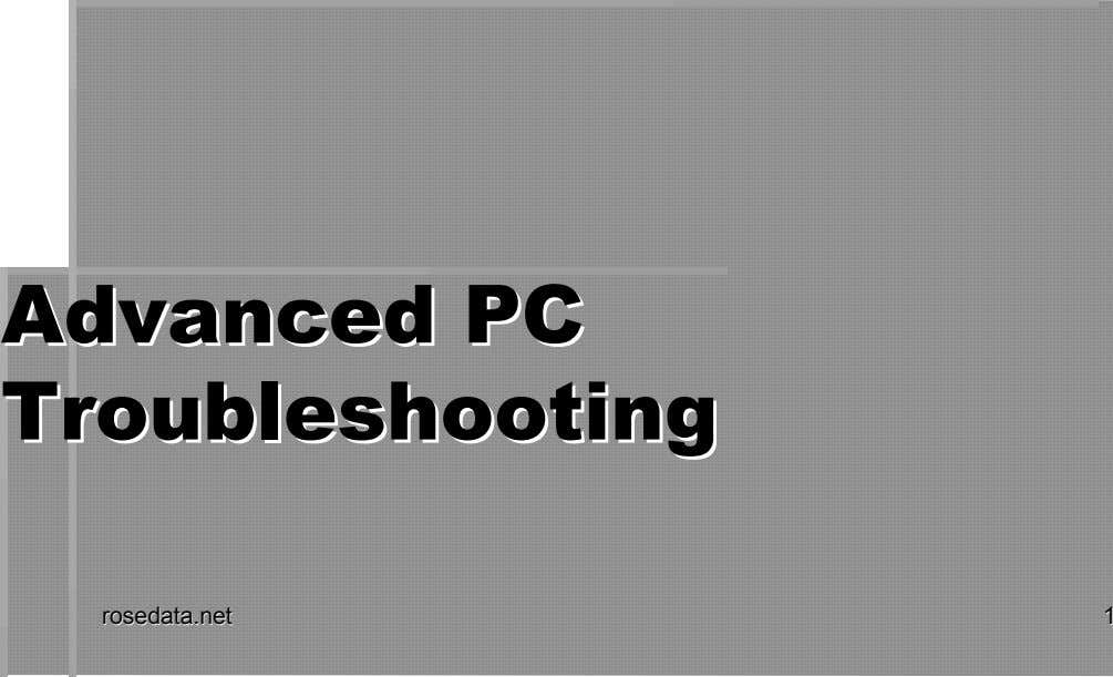 AdAdvvanancceded PPCC Troubleshooting Troubleshooting rroosesedadattaa.n.netet 11