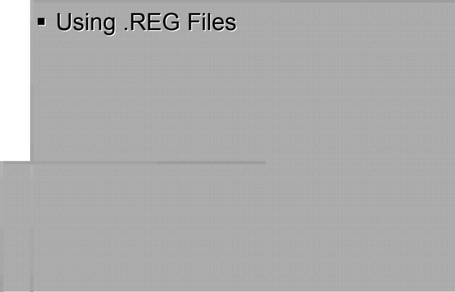 UsingUsing RREGEG FileFiless
