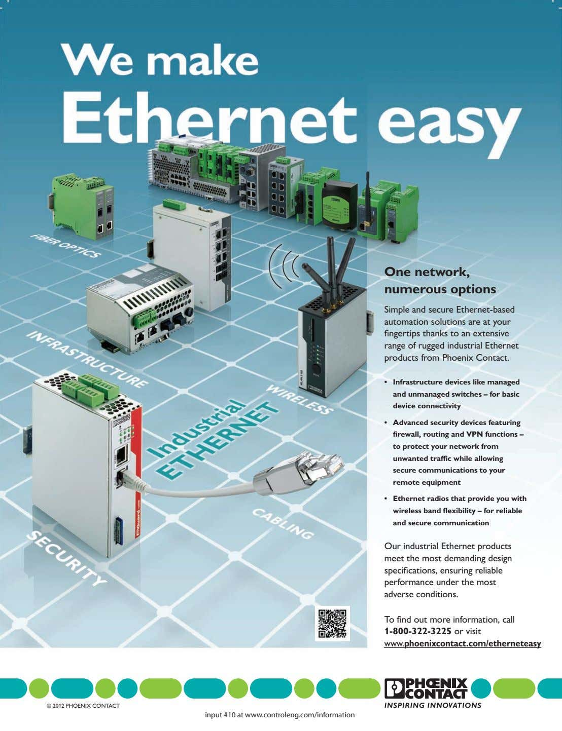 One network, numerous options Simple and secure Ethernet-based automation solutions are at your fingertips thanks