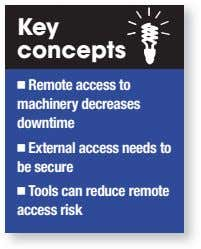 Key concepts Remote access to machinery decreases downtime External access needs to be secure Tools