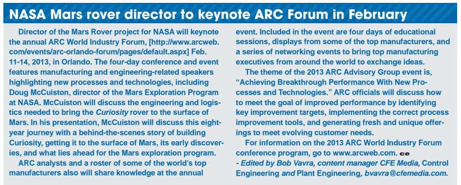 NASA Mars rover director to keynote ARC Forum in February Director of the Mars Rover