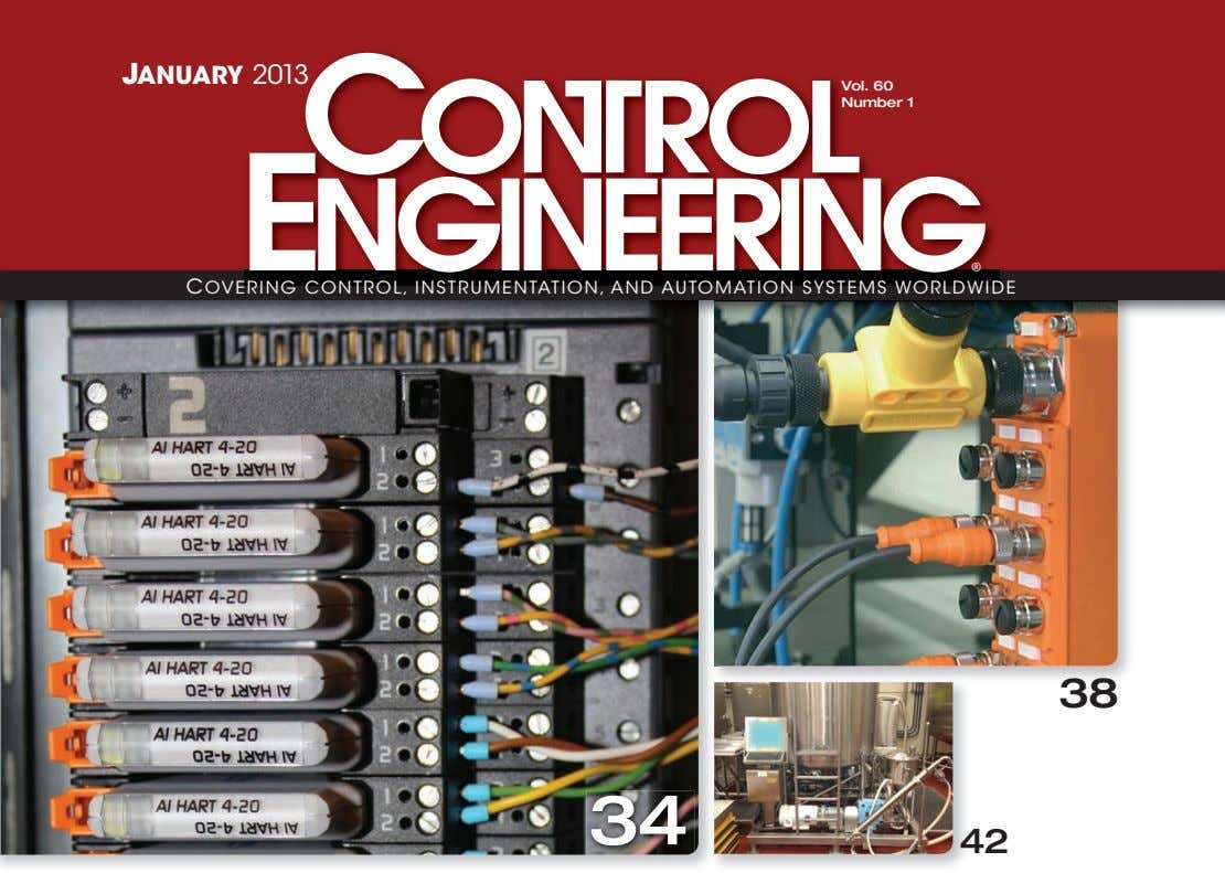 JANUARY 2013 Vol. 60 Number 1 ® C OVERING CONTROL, INSTRUMENTATION, AND AUTOMATION SYSTEMS WORLDWIDE