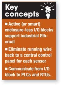 Key concepts Active (or smart) enclosure-less I/O blocks support industrial Eth- ernet Eliminate running wire