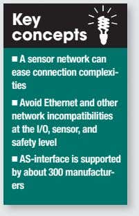 Key concepts A sensor network can ease connection complexi- ties Avoid Ethernet and other network