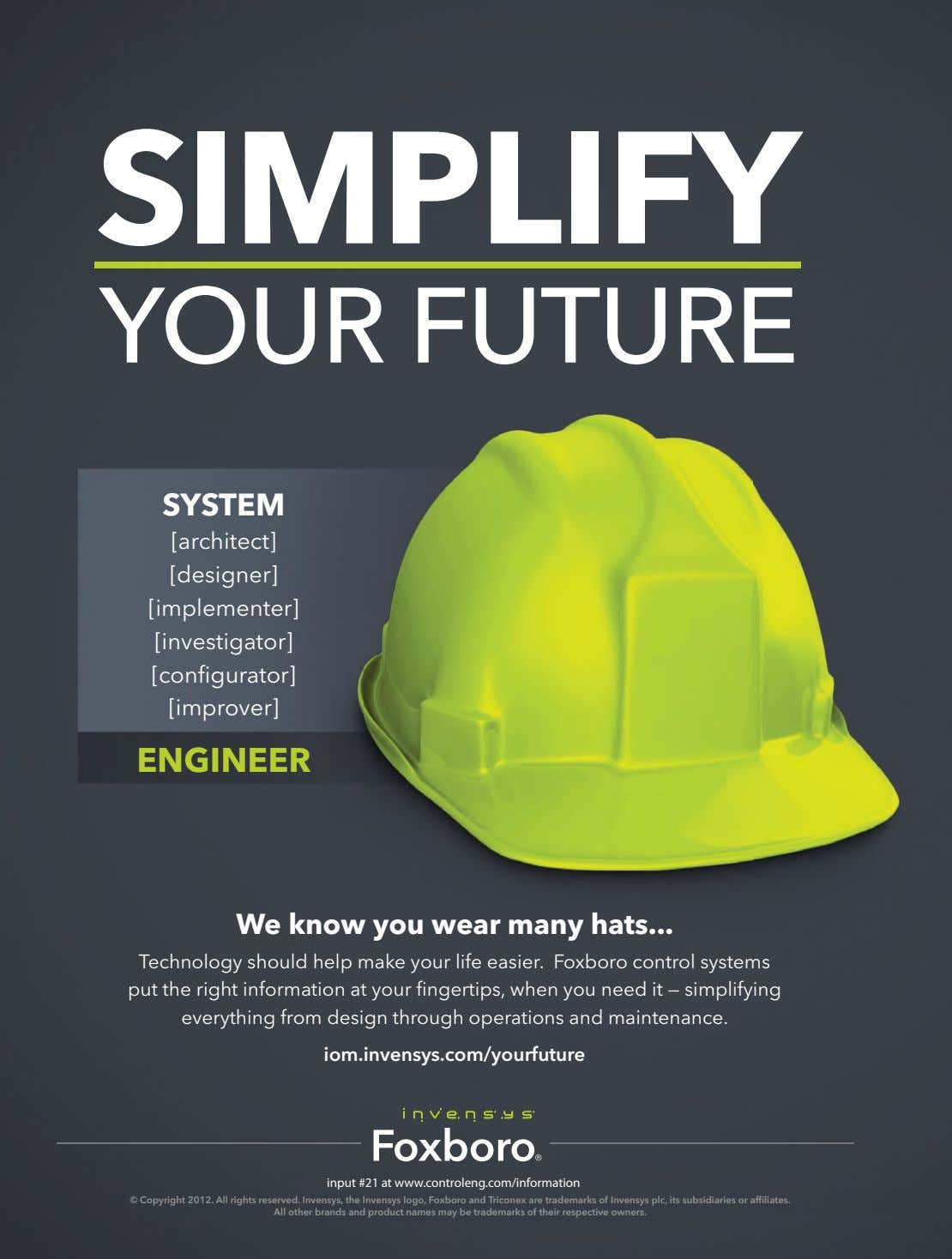 SIMPLIFY YOUR FUTURE SYSTEM [architect] [designer] [implementer] [investigator] [configurator] [improver]