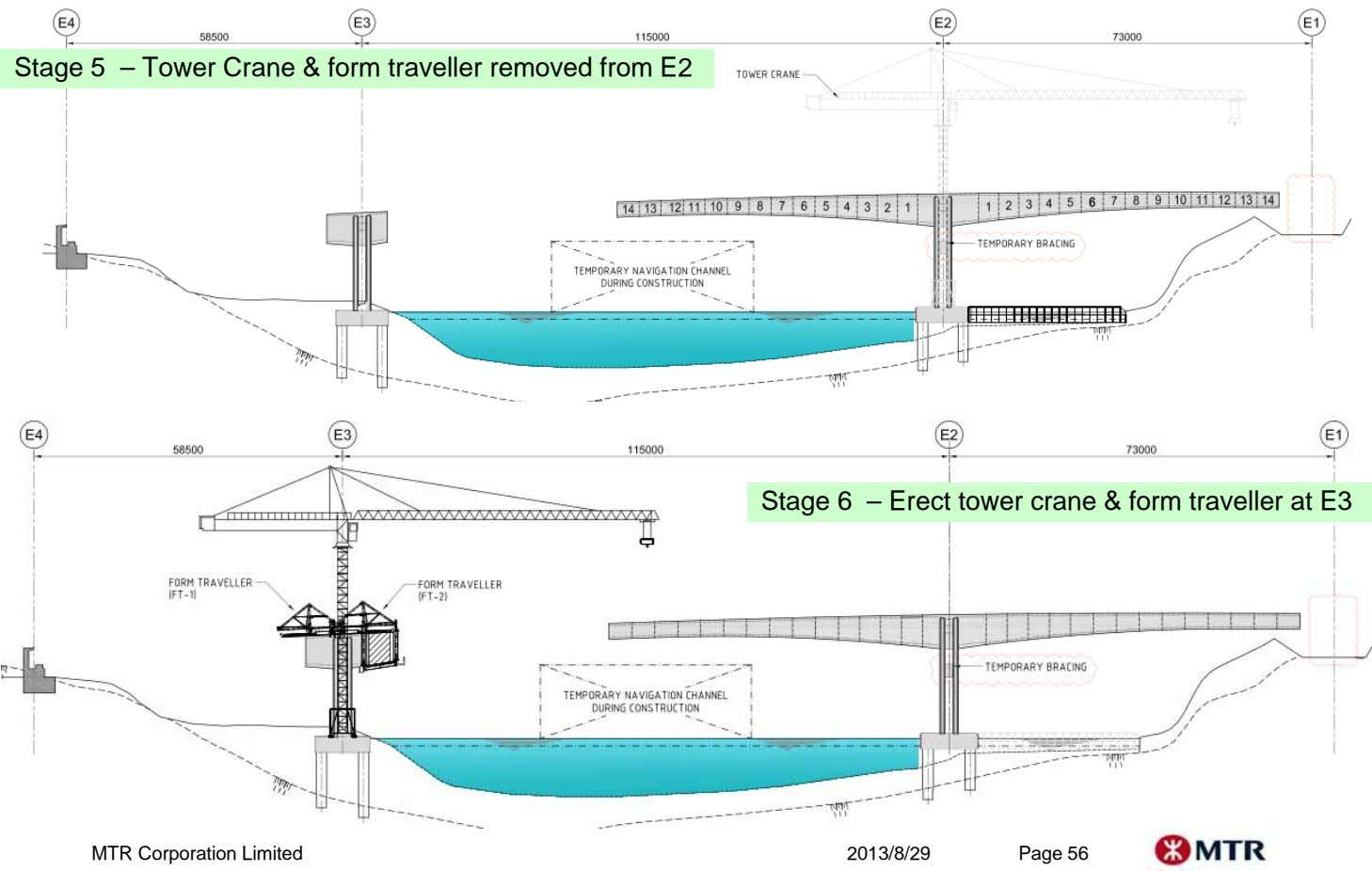Stage 5 – Tower Crane & form traveller removed from E2 Stage 6 – Erect