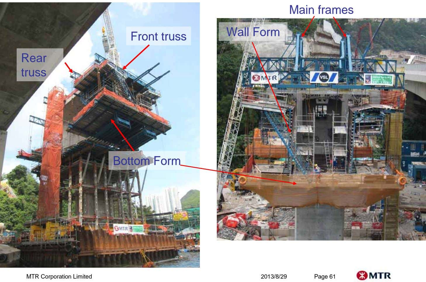 Main frames Wall Form Front truss Rear truss Bottom Form MTR Corporation Limited 2013/8/29 Page