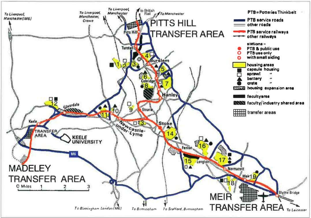 PTS= Potteries Thinkbelt To Liverpool. M1nchest•r.fM6} - PTB service roads � ITTS HILL JRANSFER AREA
