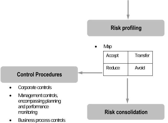 Risk profiling • Map Accept Transfer Reduce Avoid Control Procedures • Corporate controls • Management