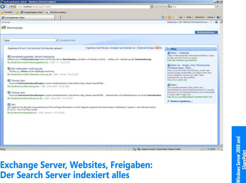 Exchange Server, Websites, Freigaben: Der Search Server indexiert alles Windows Server 2008 und SharePoint