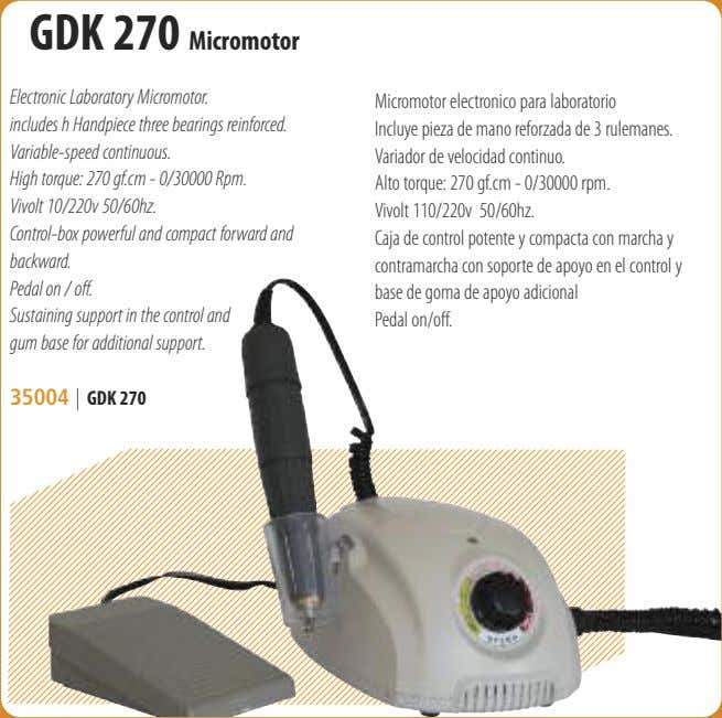 GDK 270 Micromotor Electronic Laboratory Micromotor. includes h Handpiece three bearings reinforced. Variable-speed