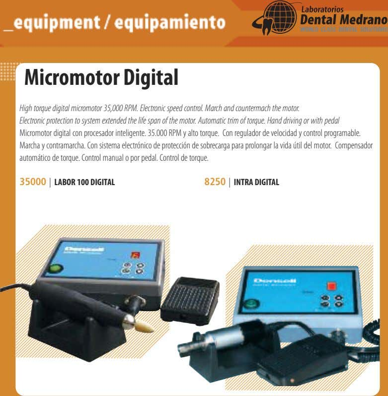 Micromotor Digital High torque digital micromotor 35,000 RPM. Electronic speed control. March and countermach the