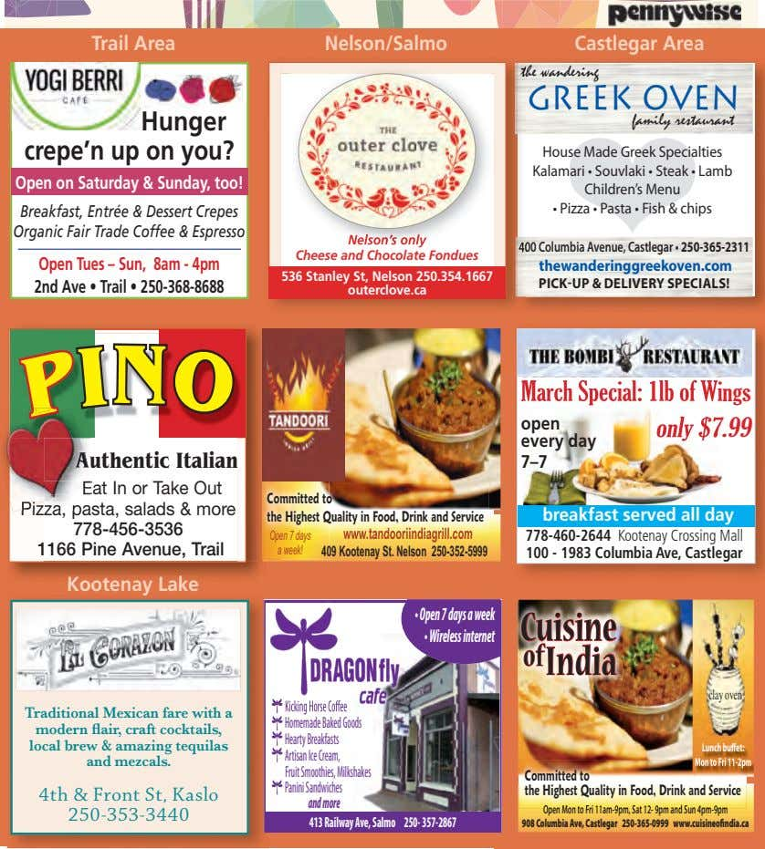 Trail Area Nelson/Salmo Castlegar Area the wandering GREEK OVEN Hunger crepe'n up on you? family