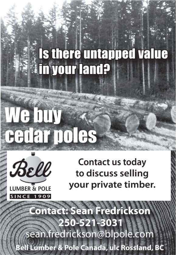 BELL Is there untapped value in your land? We buy cedar poles Contact us today