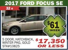 2017 FORD FOCUS SE 32 K $ 61 /WEEK 5 DOOR, HATCHBACK, WINTER PKG, GOLD