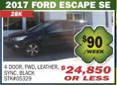 2017 FORD ESCAPE SE 28K 4 DOOR, FWD, LEATHER, SYNC, BLACK STK#05329