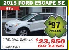 2015 FORD ESCAPE SE 58 K 4 WD, NAV., LEATHER STK#29640