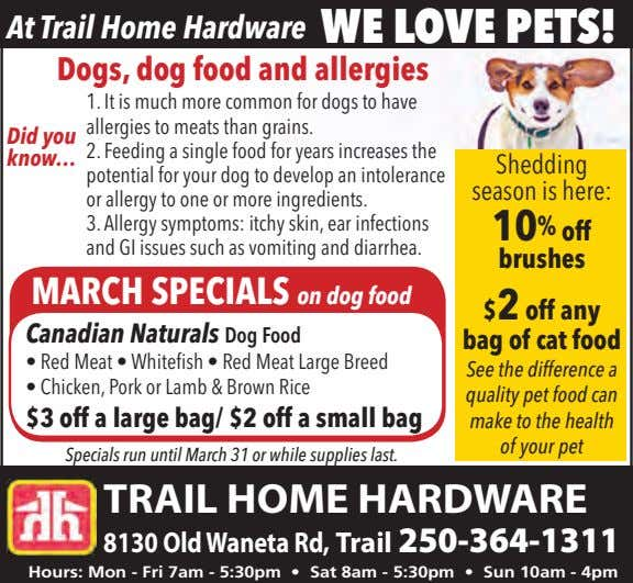 At Trail Home Hardware WE LOVE PETS! Dogs, dog food and allergies 1. It is