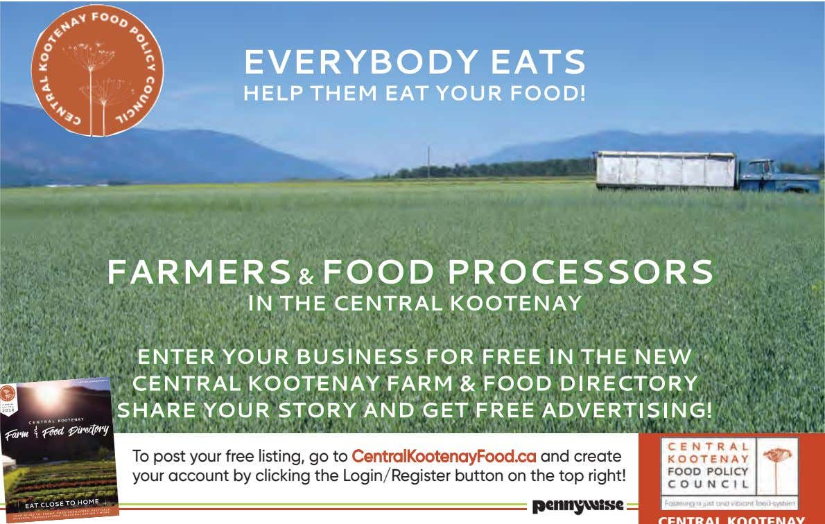 To post your free listing, go to CentralKootenayFood.ca and create your account by clicking the