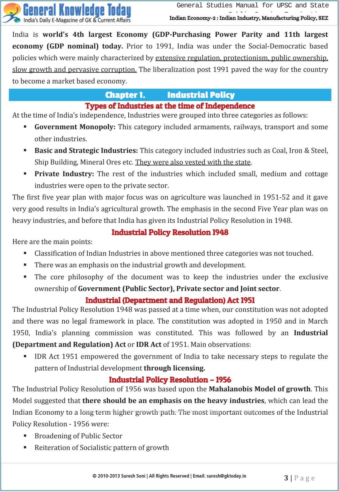 General Studies Manual for UPSC and State IIndian Economy--22 :: IIndian Industry, Manufacturing Policy, SEZ