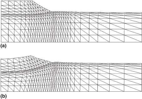 drains. (a) End of construction. (b) End of consolidation. Fig. 12. Deformed meshes for the embankment
