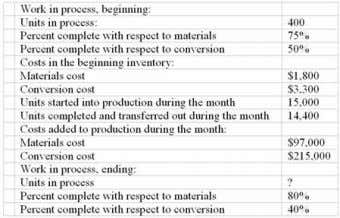 Chpter 04: process costing Jumper Company uses the weighted-average method in its process costing system. The