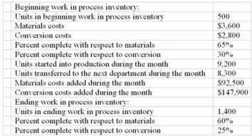 Chpter 04: process costing 67. The cost of ending work in process inventory in the first
