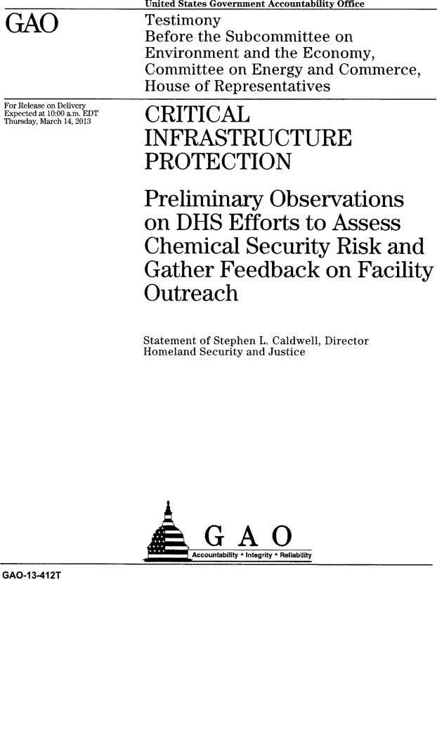 United States Government Accountability Office GAO Testimony Before the Subcommittee on Environment and the Economy,