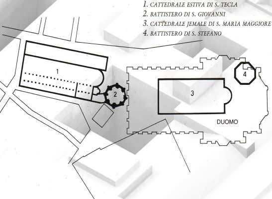 Medieval Period and Cathedral of Milan until its demolition in 1461. Plan of the Episcopal Complex