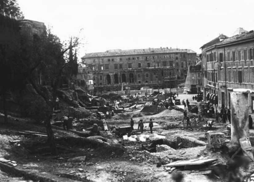 Project Mediolanum Clearing the Via del Mare, Capitoline on the left, Theater of Marcellus in