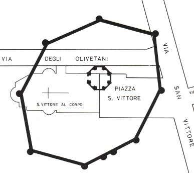 sixteenth century during the restructuring of the church. Plan of the enclosure of San Vit- tore