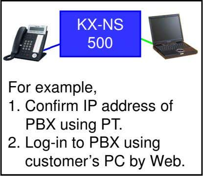 KX-NS 500 For example, 1. Confirm IP address of PBX using PT. 2. Log-in to