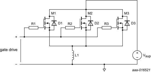 Fig 10. High side MOSFET group driving a low side inductive load