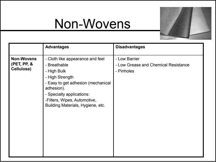 Non-Wovens Advantages Disadvantages Non-Wovens - Cloth like appearance and feel - Low Barrier (PET, PP, &