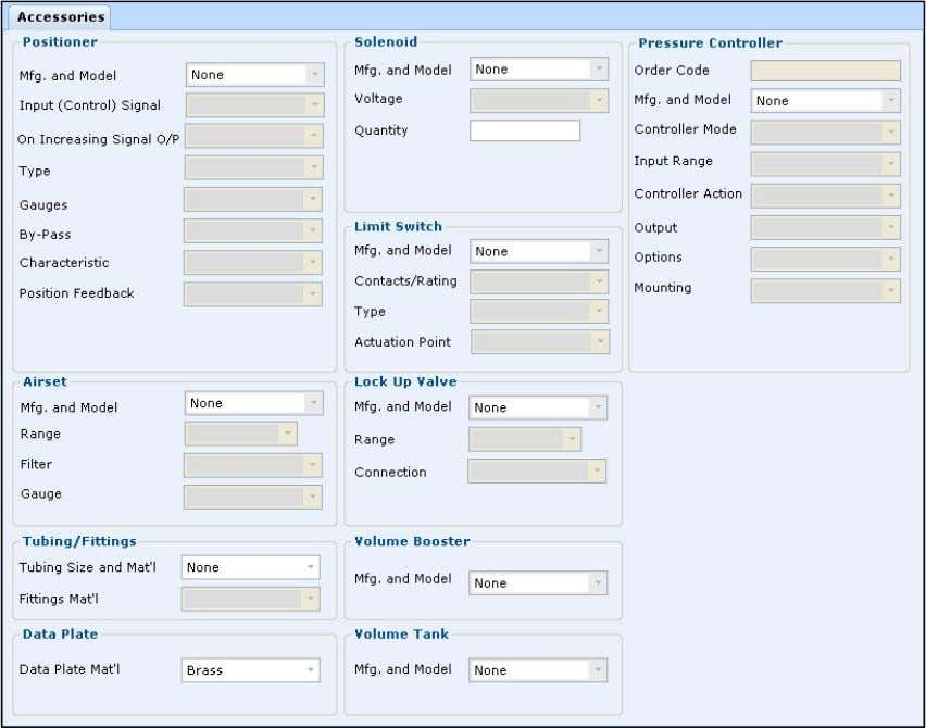 components to be specified for the selected line item. Click Accessories from the Sizing/Selection menu options