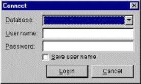the Database menu. 2. The Connect dialog box appears: 3. Select a database to connect to
