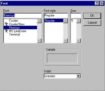 Display Font button. 4. The Font dialog box appears: a) In the Font box, choose a