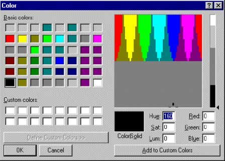 and the dialog box expands to define Custom colors : 6. Select a Custom colors box