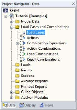 The Data navigator contains the following entries in the folder Load Cases and Combinations :