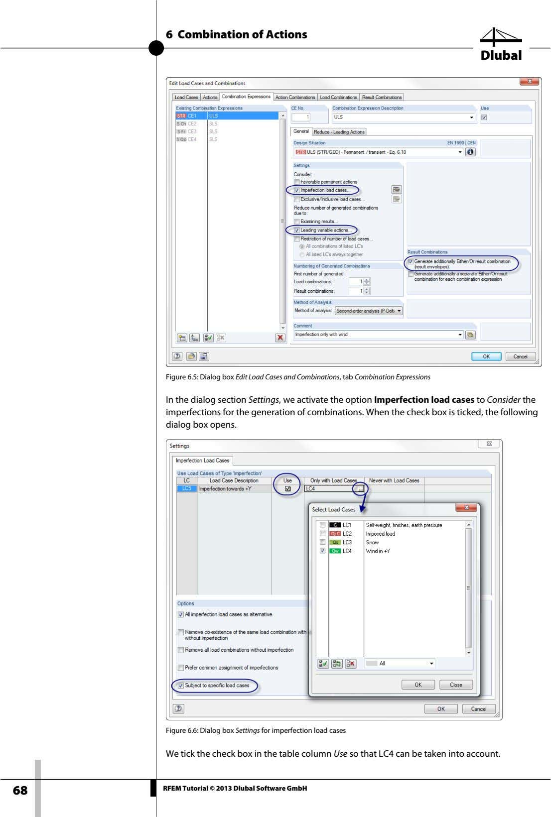 6 Combination of Actions Dlubal Figure 6.5: Dialog box Edit Load Cases and Combinations, tab